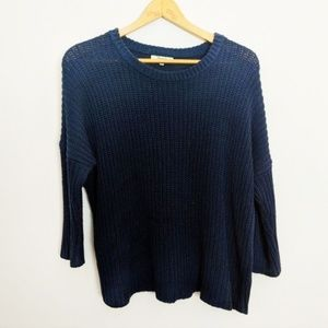 Madewell Shaker Chunky Knit Linen Sweater Teal